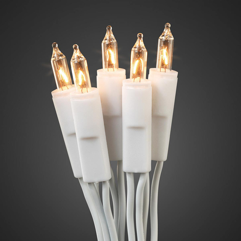 Mini-ljuskedja vit kabel, 20 lampor