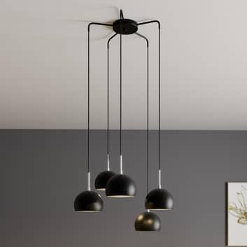 Hanglamp Cool, 5-lamps afwijzend, zwart