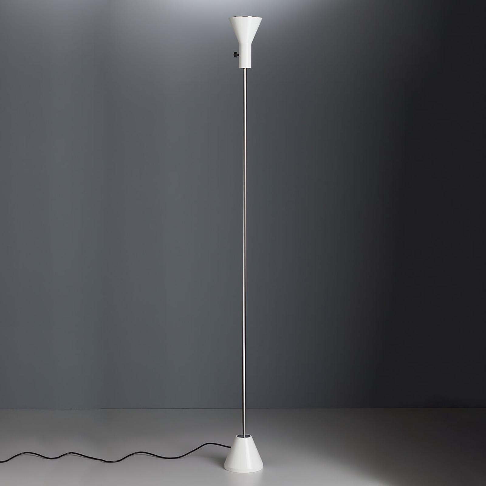 Biała designerska lampa stojąca Gru z LED