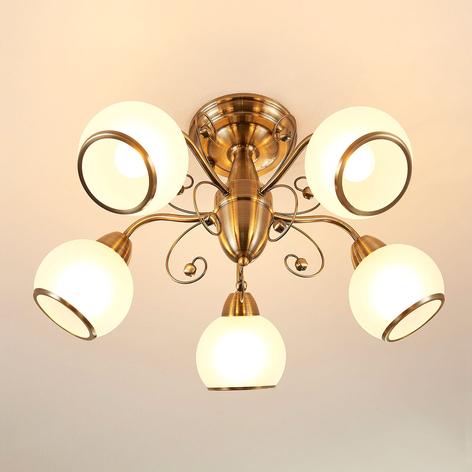 Drømme-taklampe Corentin, antikkmessing