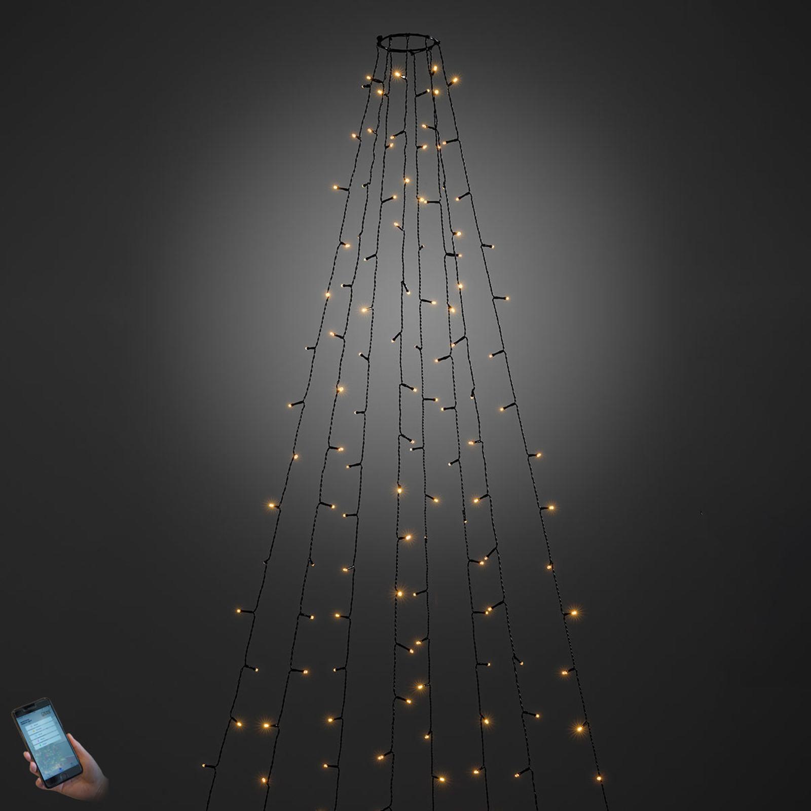 Utendørs, app-styrt LED-lyskappe, 560 lys