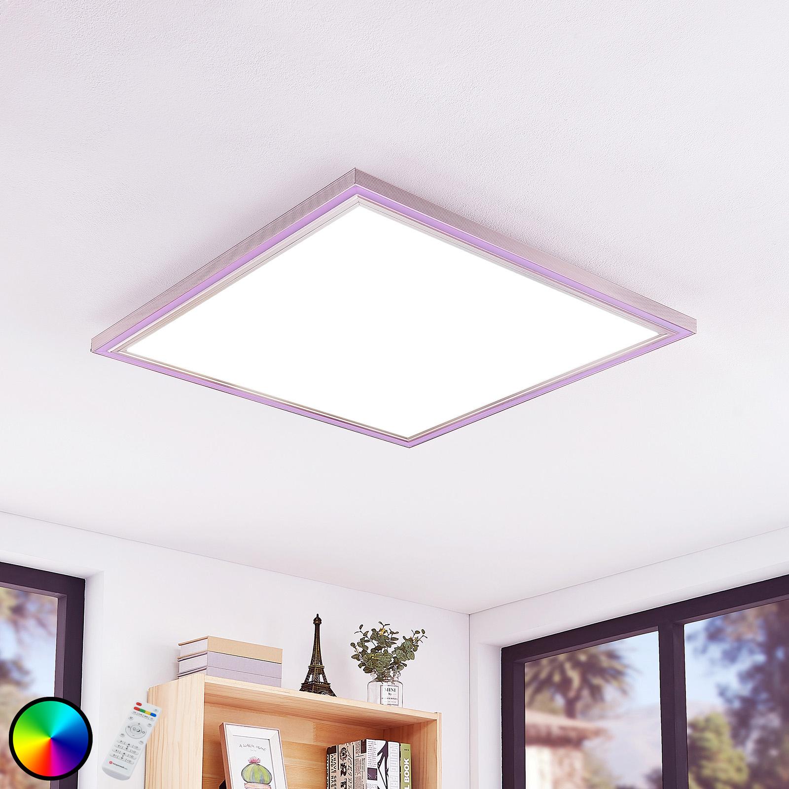 LED-taklampe Lynn, CCT+RGB, kantet, 75x75 cm