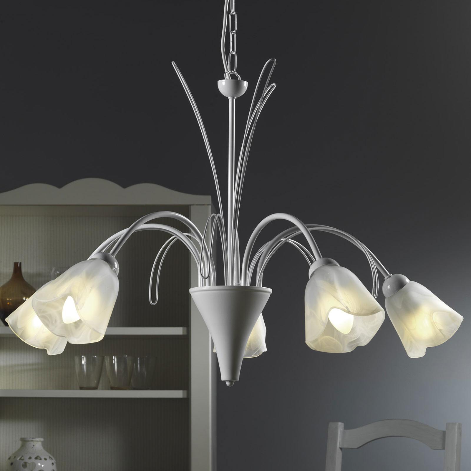 Lampa wisząca Antea 5 kloszy szkło alabastrowe