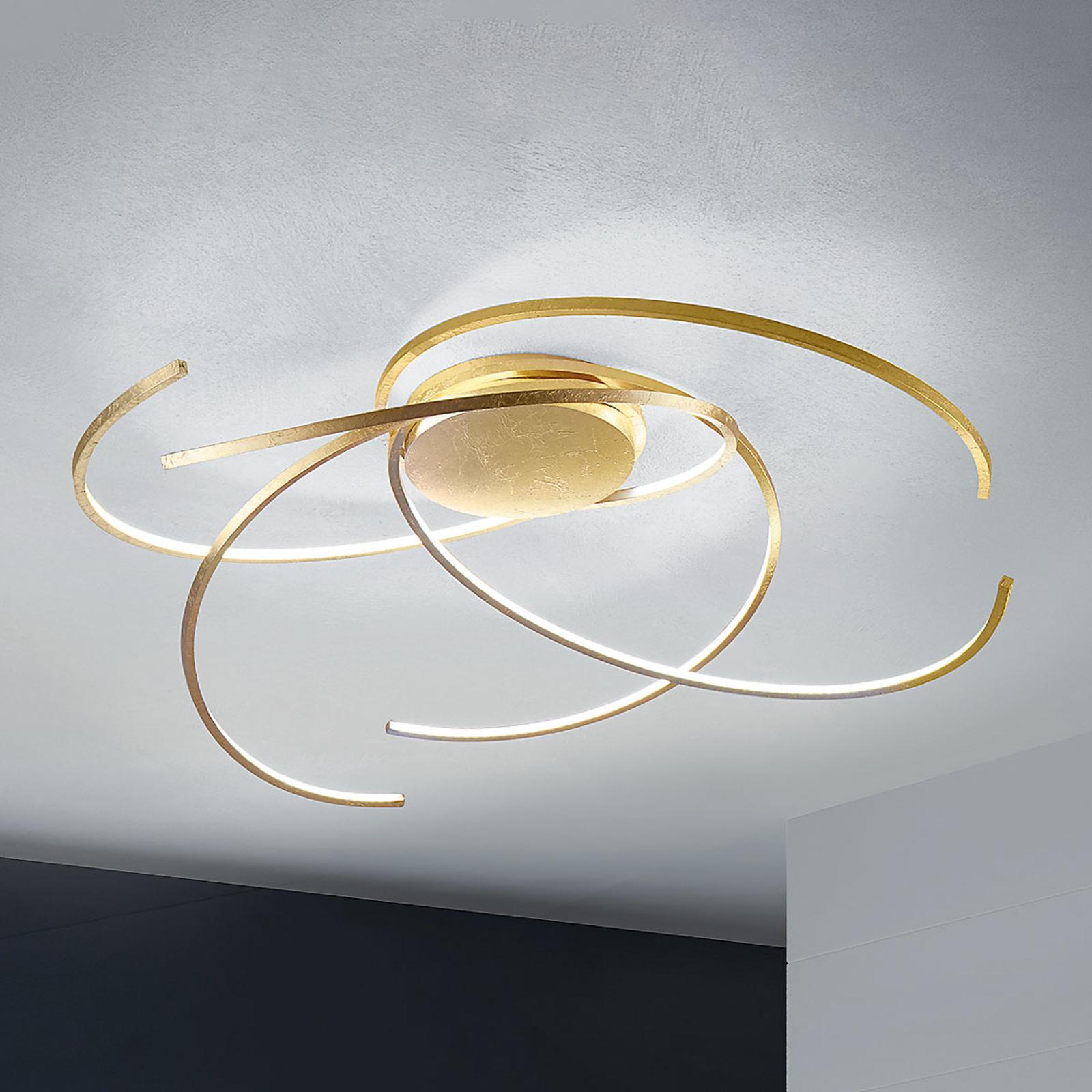 Skinnende LED loftlampe Space bladguld 80 cm