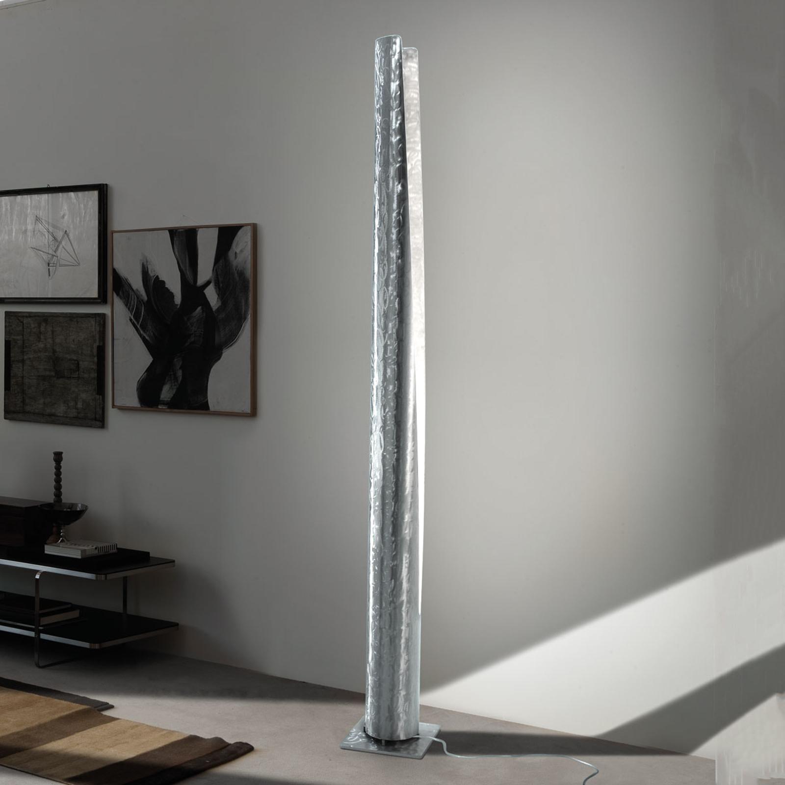 Exclusieve vloerlamp Cannula in geborsteld staal