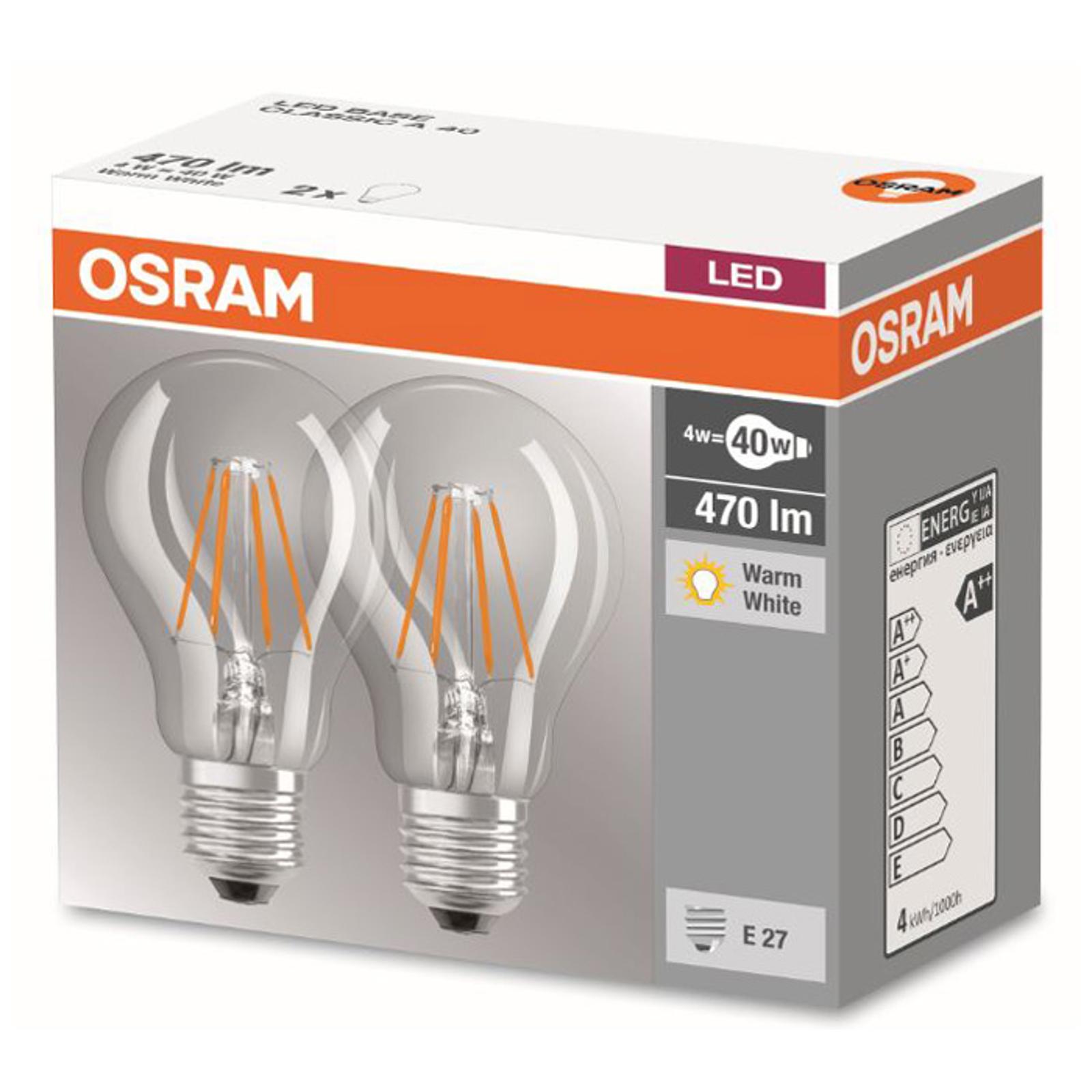 Ampoule à filament LED E27 4W 827, kit de 2