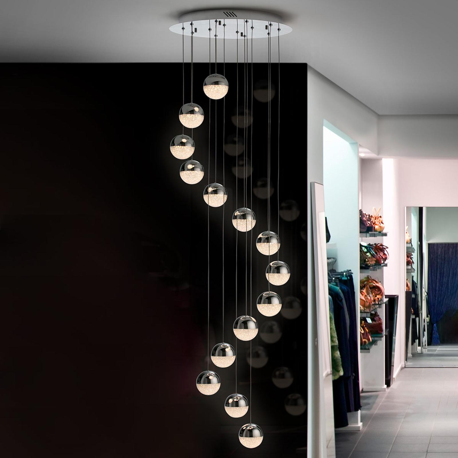 LED-pendellampe Sphere, 14 lyskilder, krom