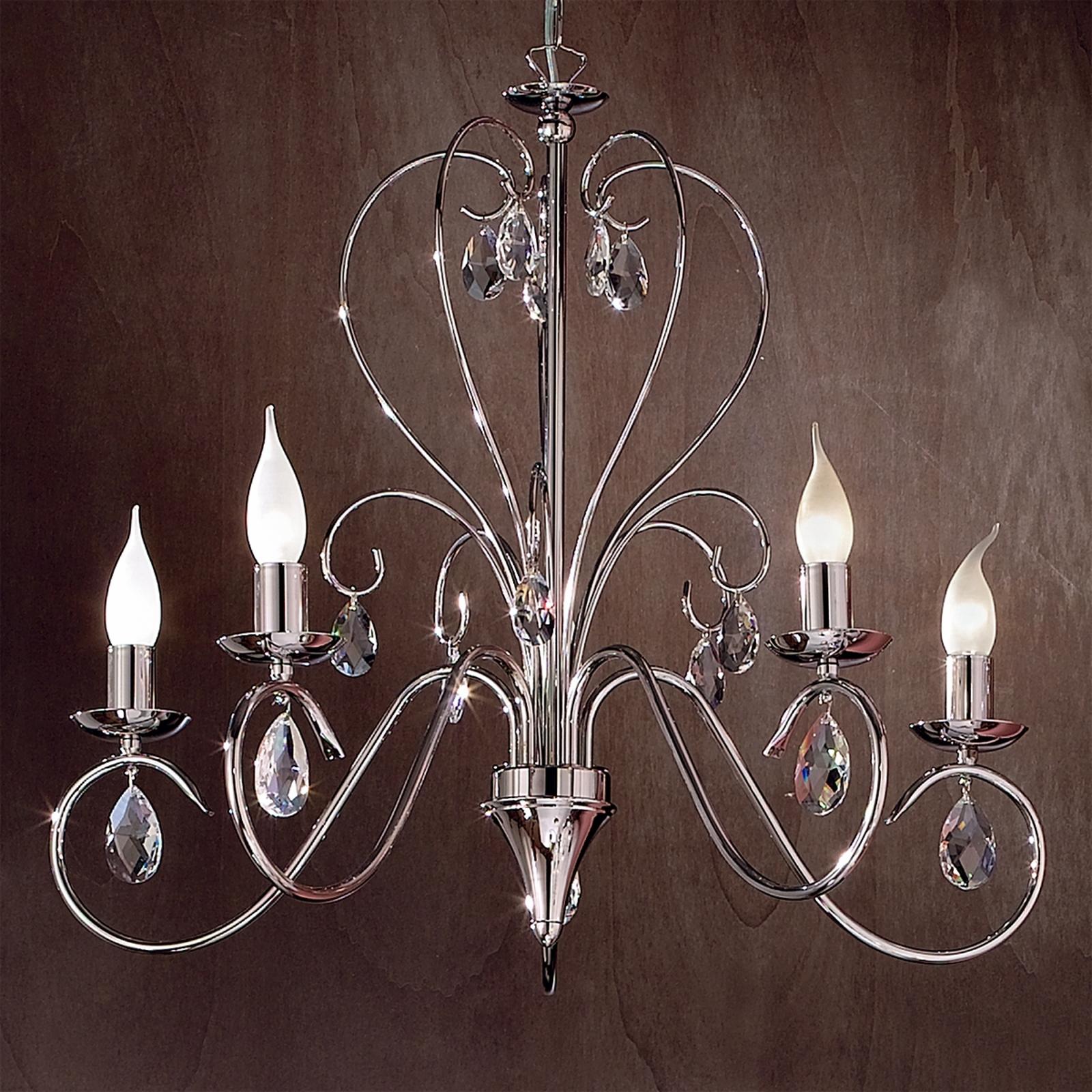 Lustre gracieux FIORETTO 5 ampoules, chromé