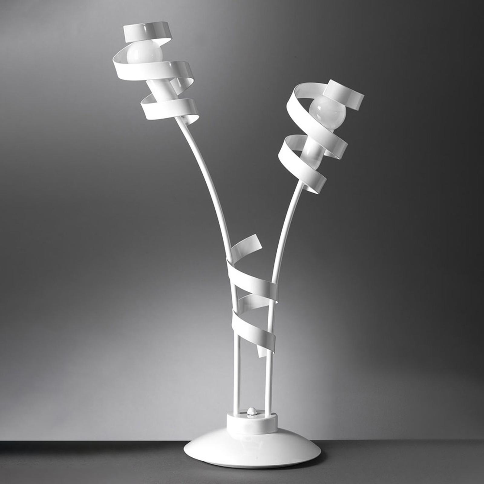 Tafellamp Zoe van metaal, 2-lamps, wit