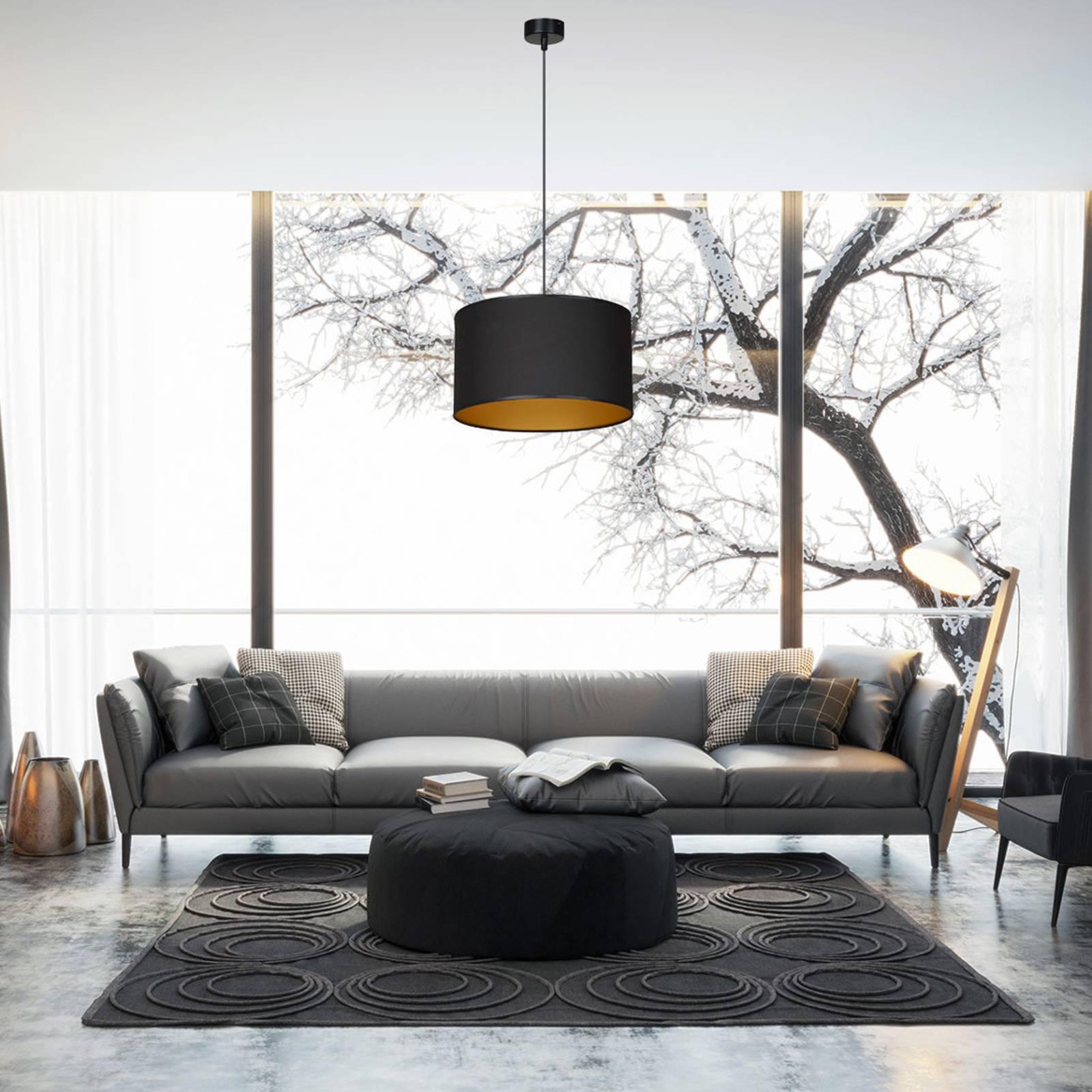 Hanglamp Roto 1 in zwart, kap binnen goud