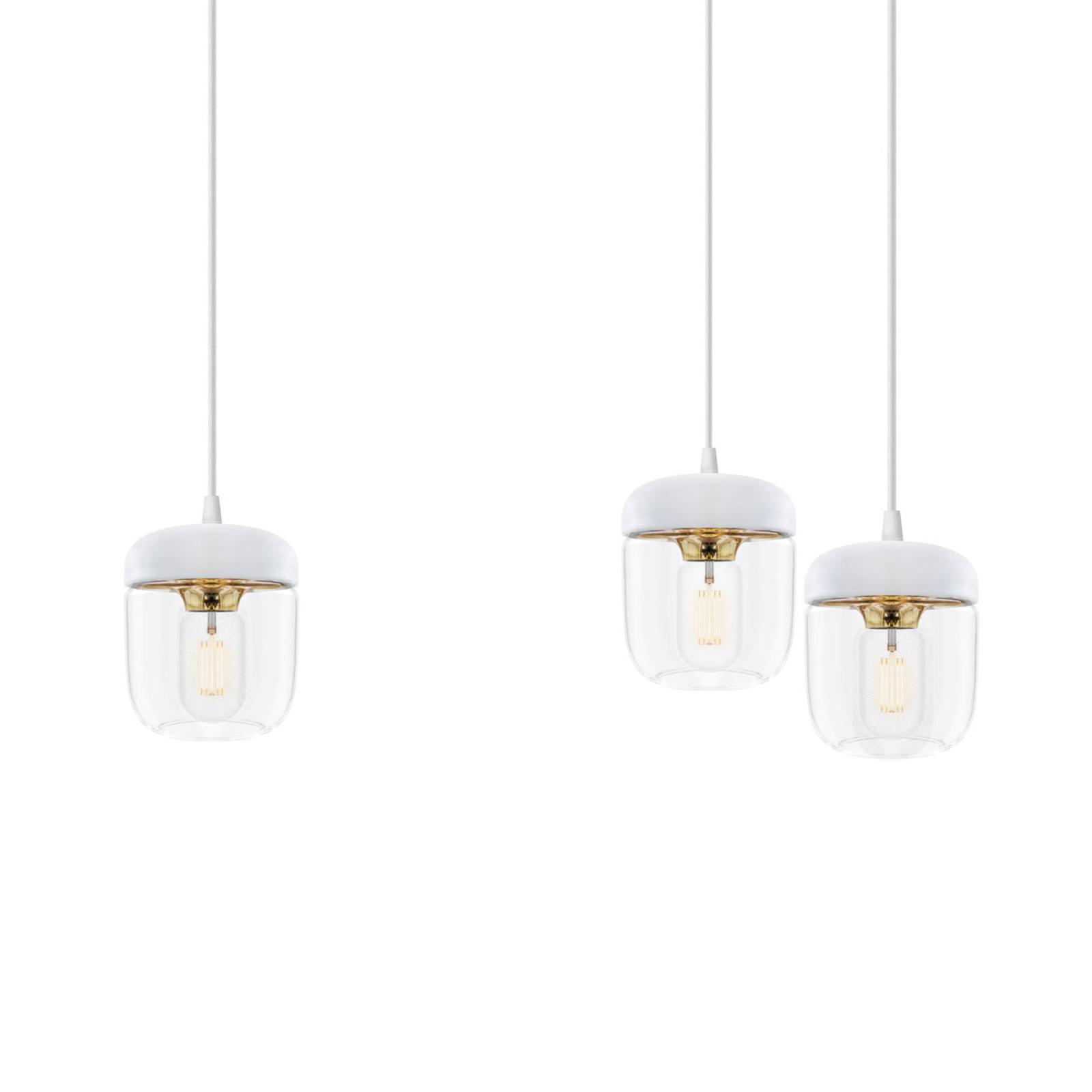 UMAGE Acorn hanglamp, 3 lampen, wit/messing