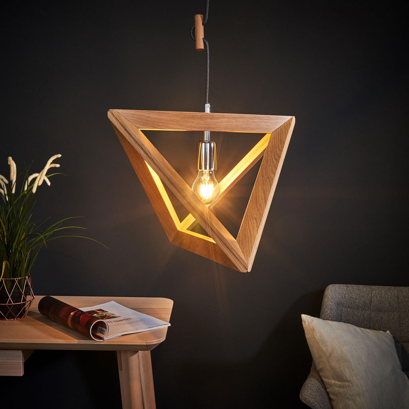 Drewniana lampa wisząca Trigonon