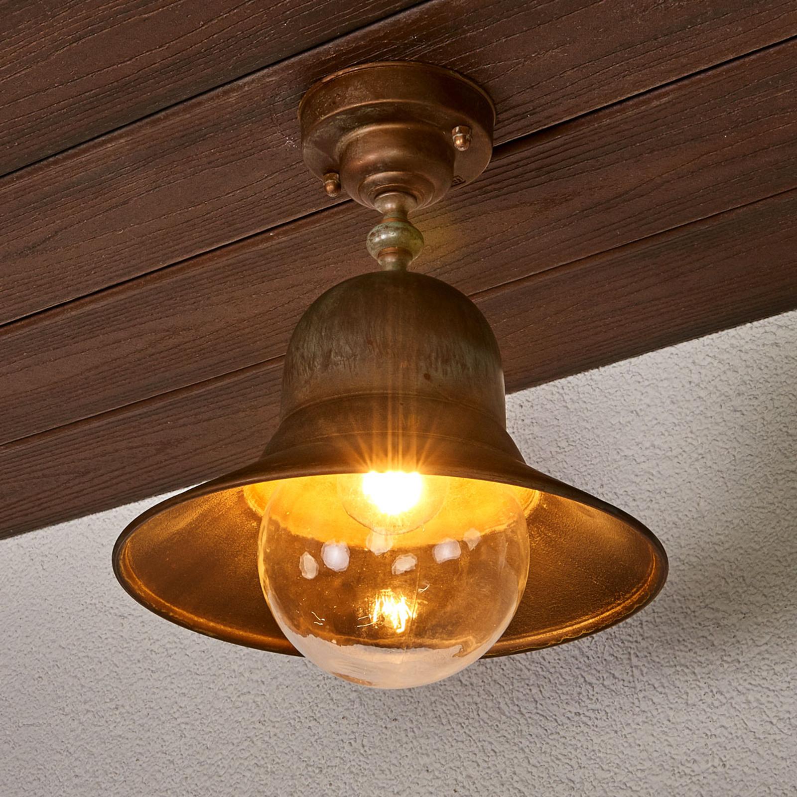 Zewnętrzna lampa sufitowa Marquesa z mosiądzu