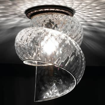 Deckenleuchte Chiocciola mit klarem Glasschirm