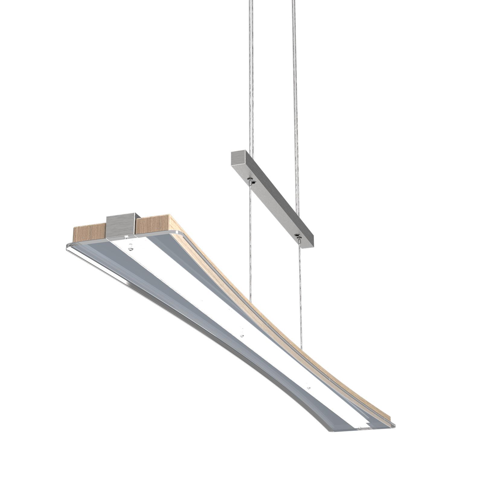 LED hanglamp Panama, eiken gekalkt