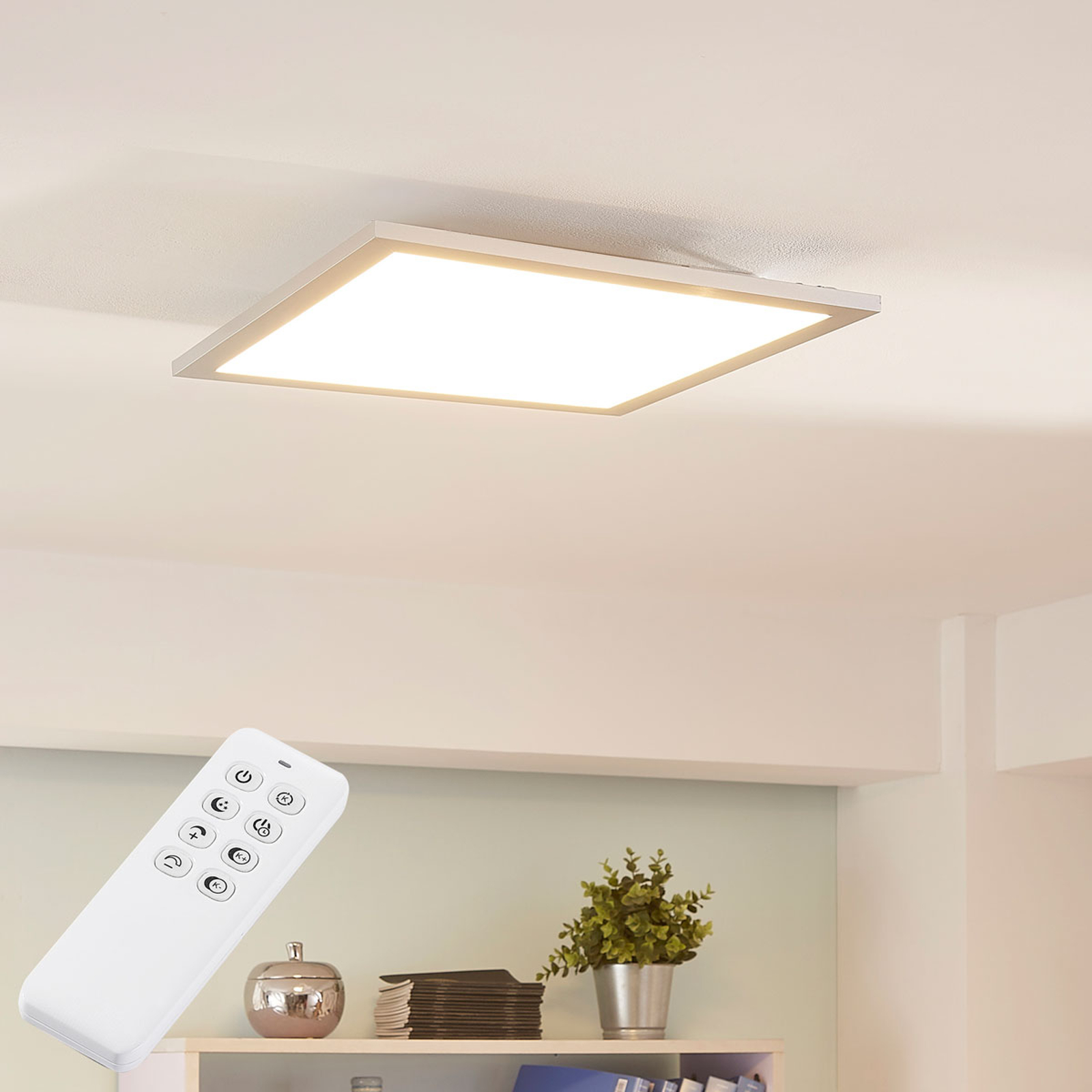 Lysander LED ceiling light, dimmable 39.5cm silver_9621555_1