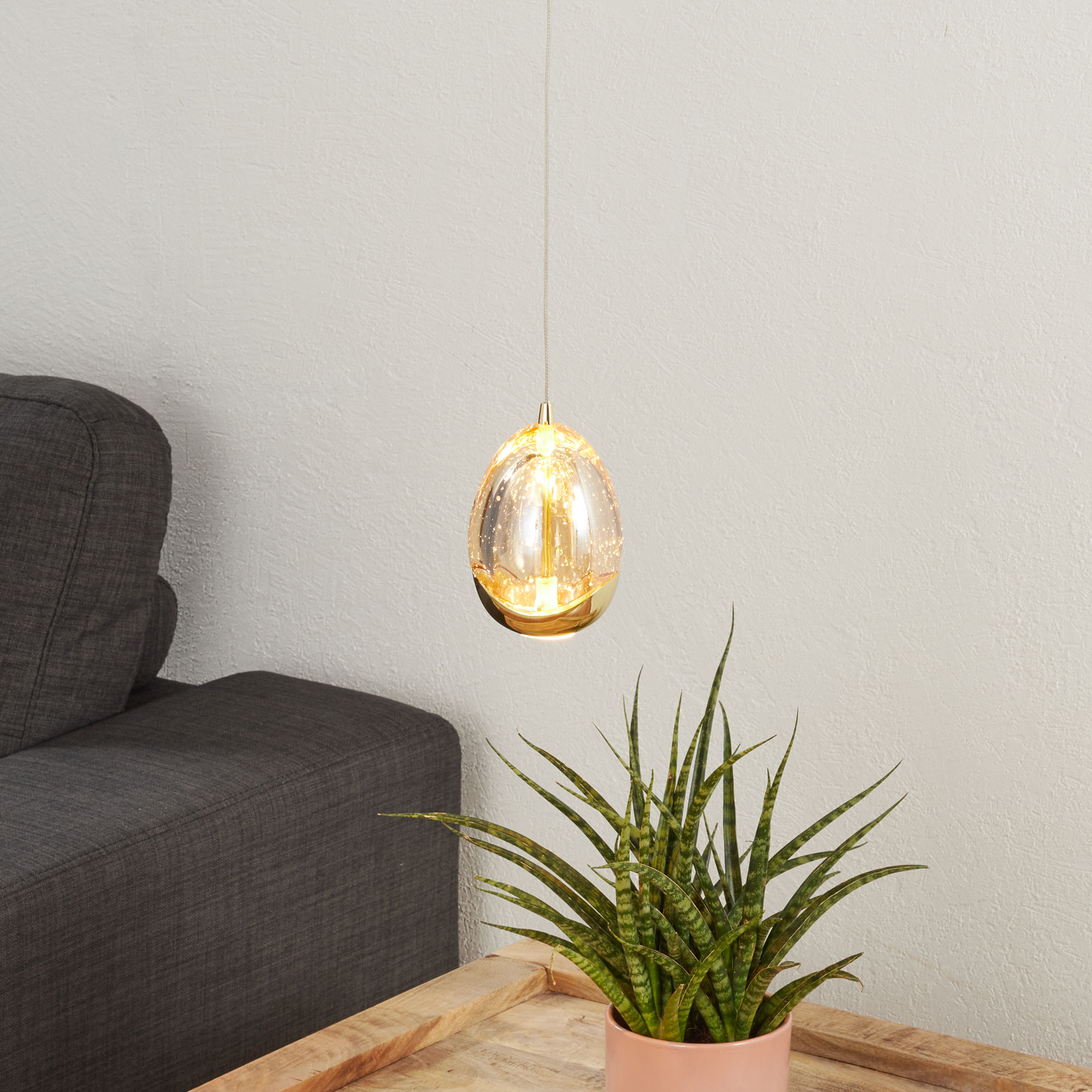 LED Pendelleuchte Rocio 1 flammig mit Gold Finish