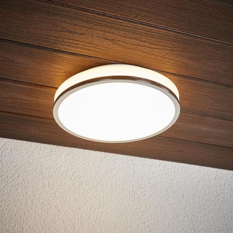 Plafonnier LED rond Lyss avec bord chromé, IP44