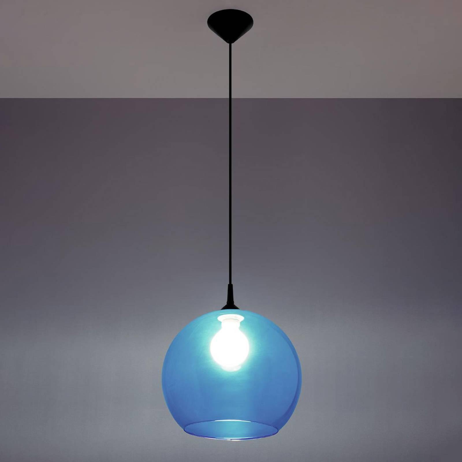 Hanglamp Colour, glazen kap blauw