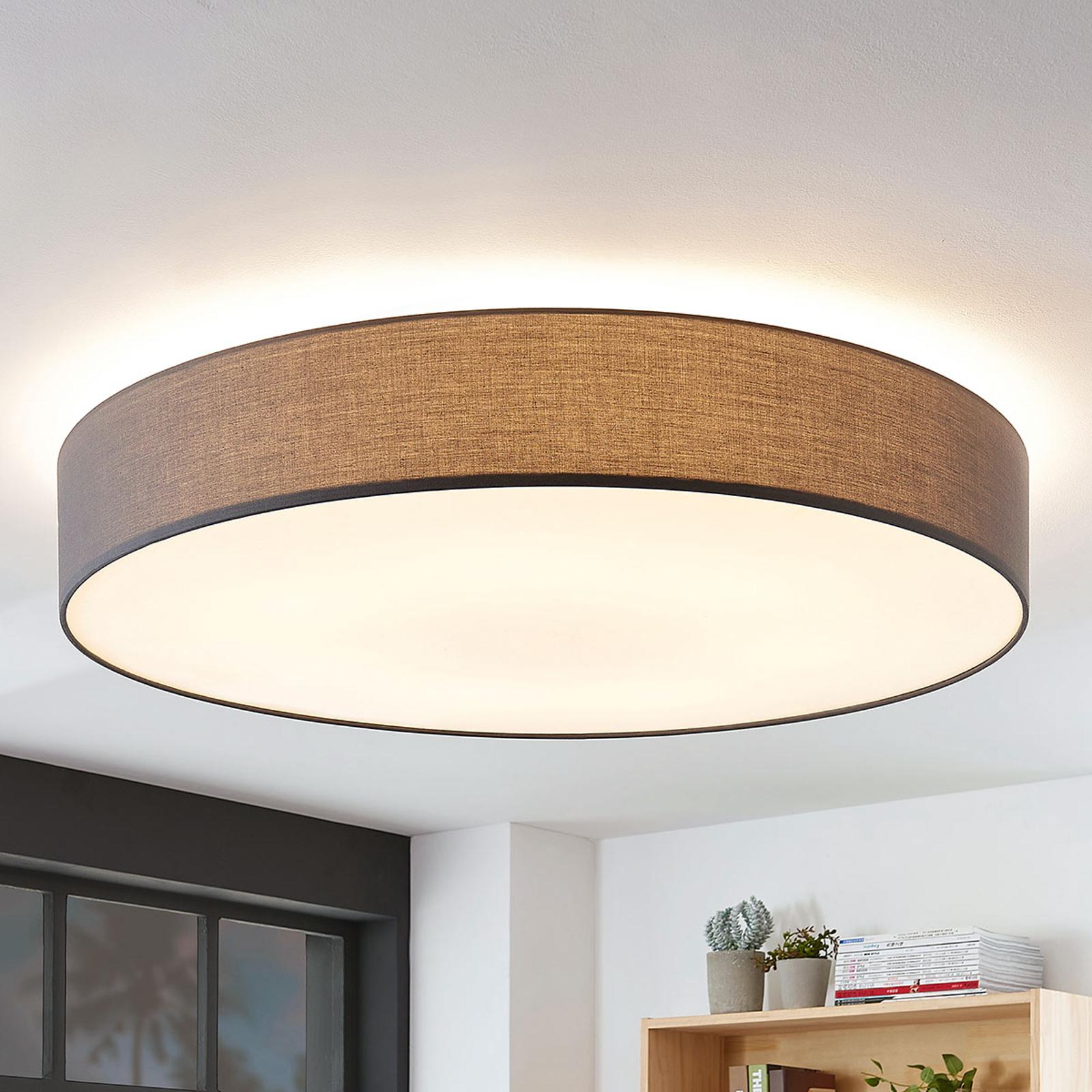 Stoff-Deckenlampe Gordana in Grau, 98 cm