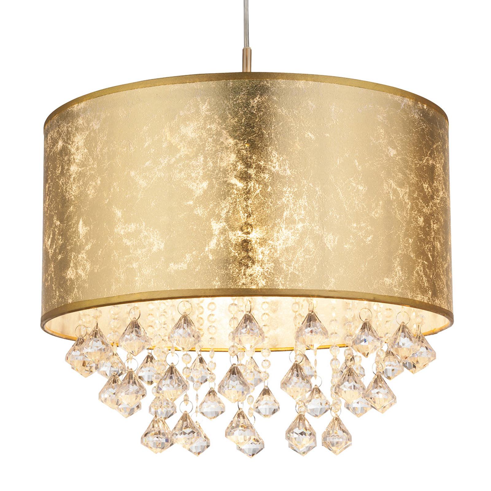 Závěsné světlo Amy s umělými krystaly, zlatá