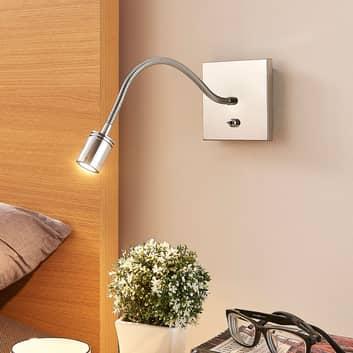 Förkromad vägg-läslampa Berfin, LED