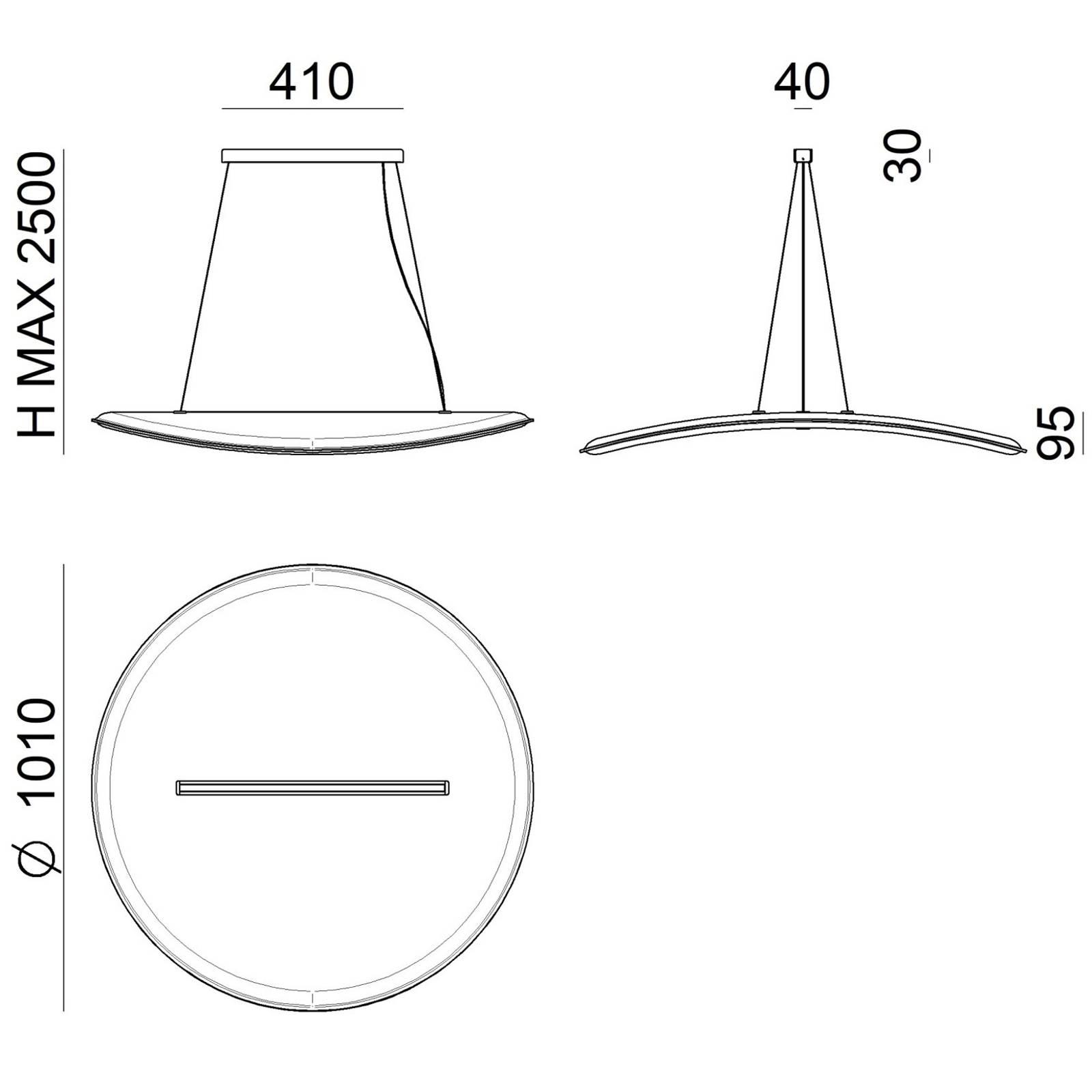 Suspension LED Derby filtre darklight blanc-orange