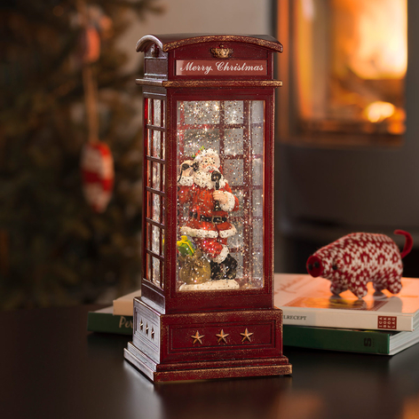 Lámpara LED decorativa Cabina telefónica Papá Noel