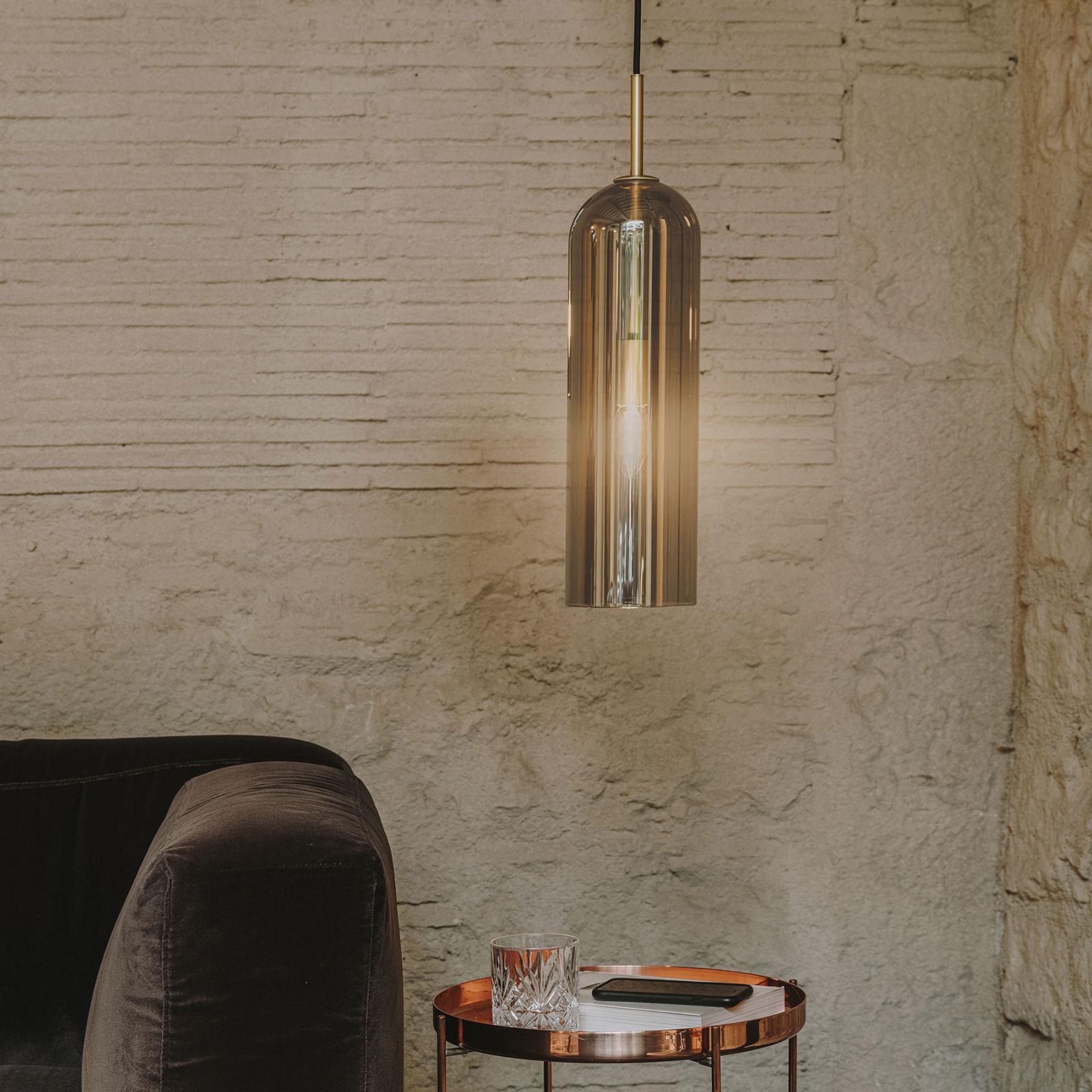LEDS-C4 Glam hanglamp, rookglas, hoogte 38,5 cm