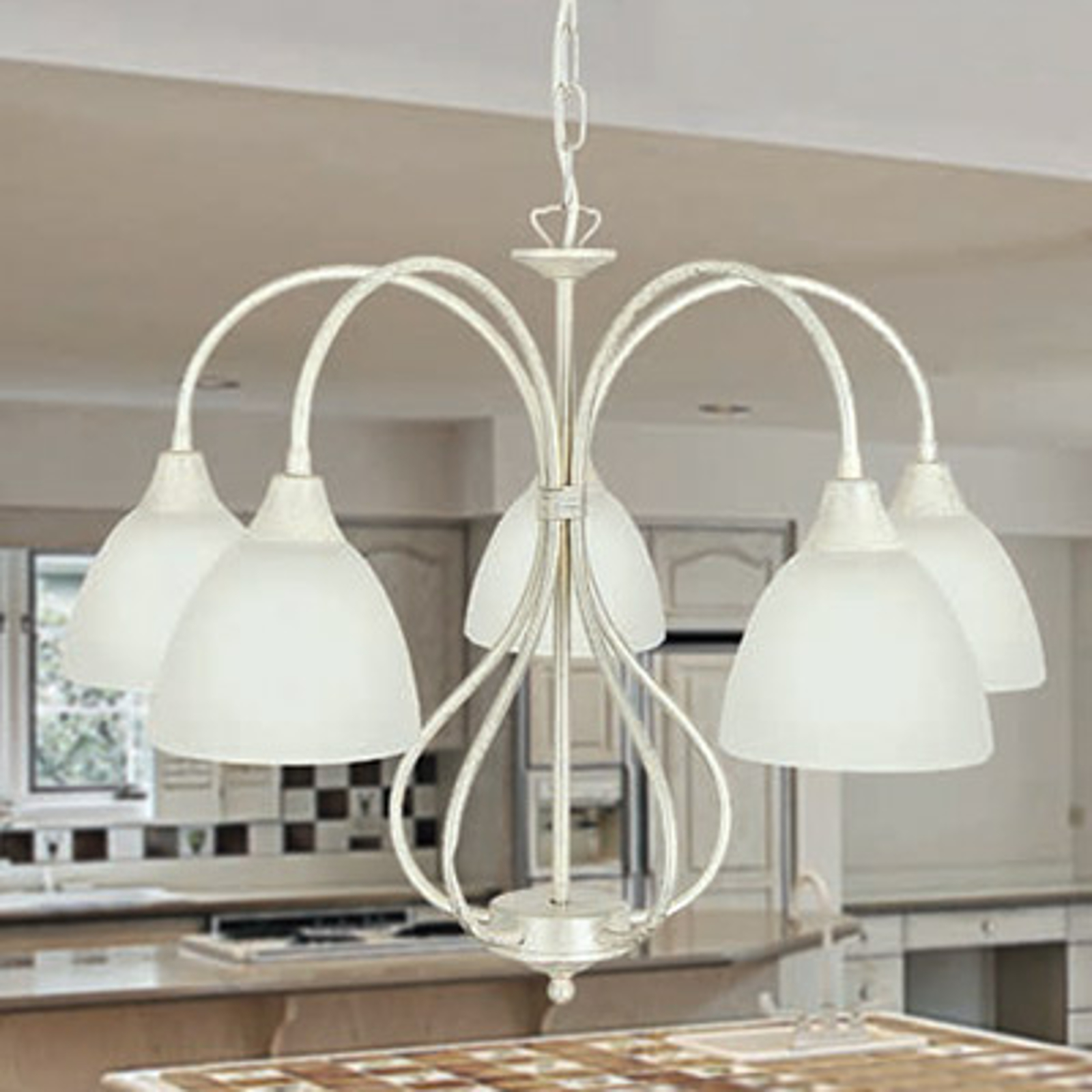 Gebogen hanglamp Antonella 5 lichtbronnen
