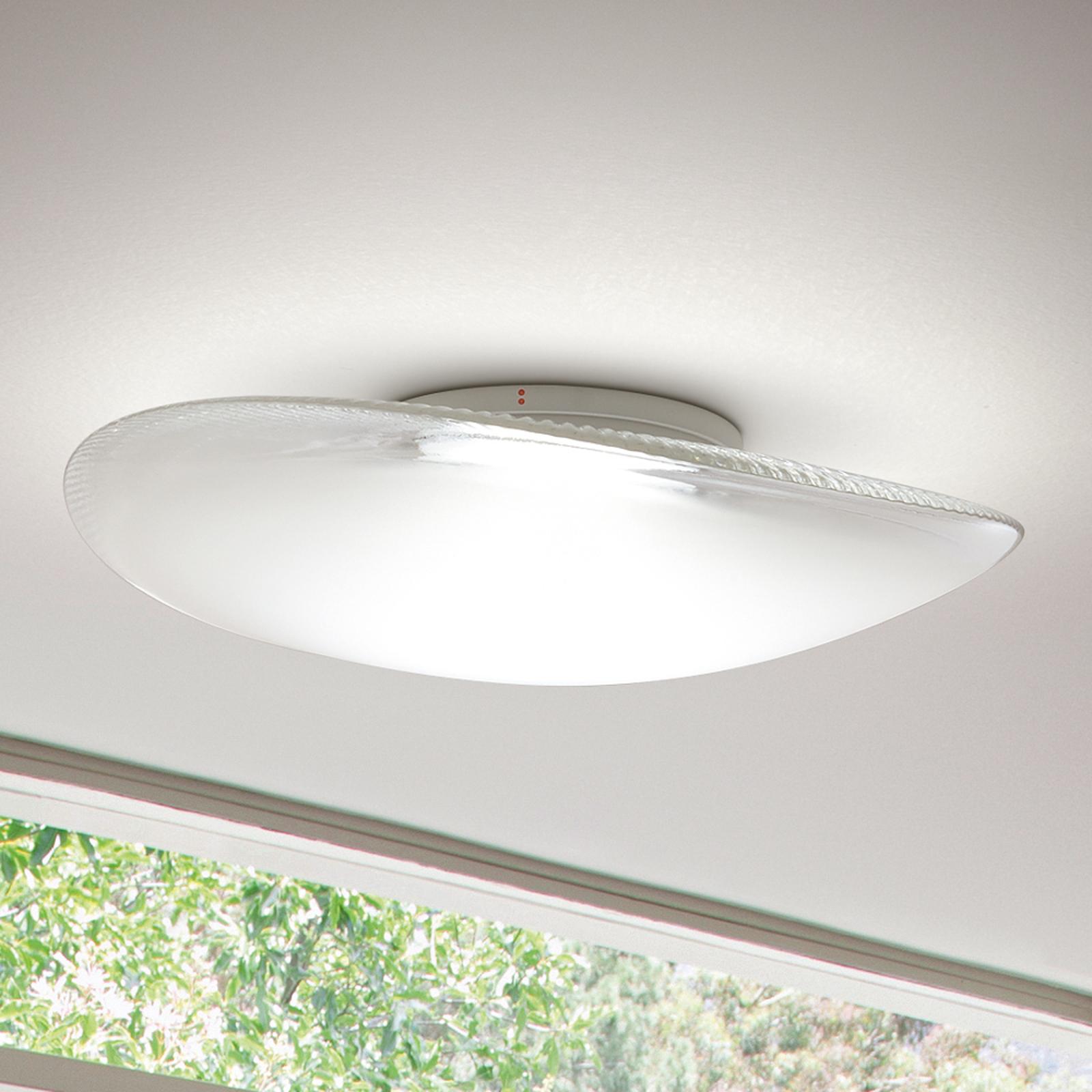 Speelse glazen plafondlamp Loop met LED, 3000K