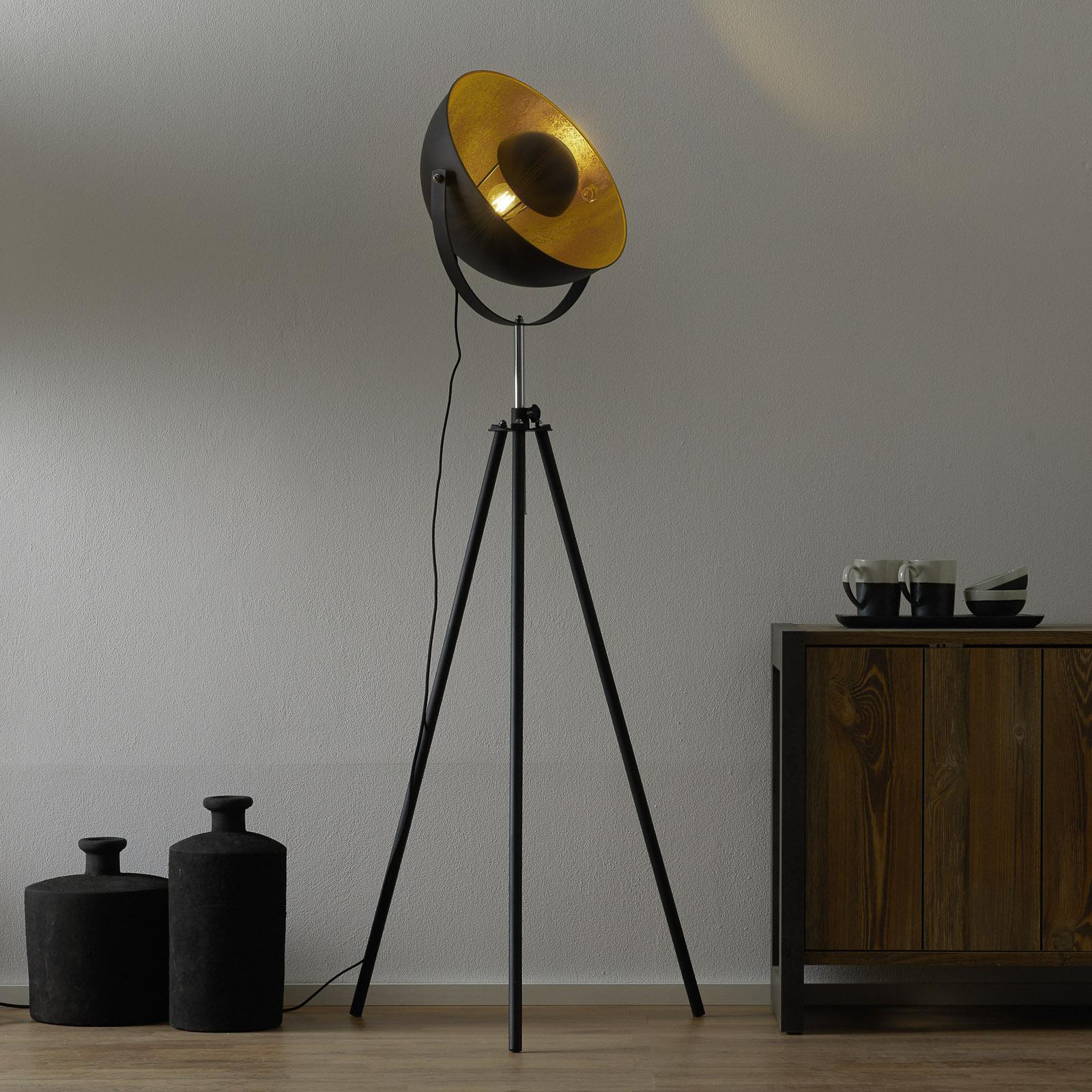 Driepotige vloerlamp Lenn, zwart-goud