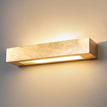 Prostokątna gipsowa lampa ścienna Emina, złota