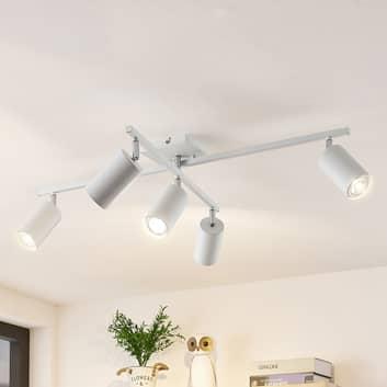 Lindby Ebardo plafón, 5 luces blanco
