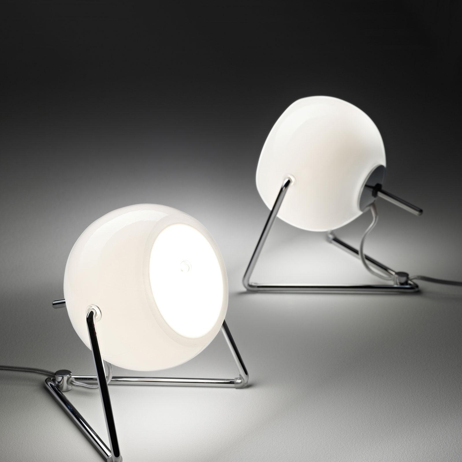 Fabbian Beluga White Glas-Tischleuchte, Ø 9 cm