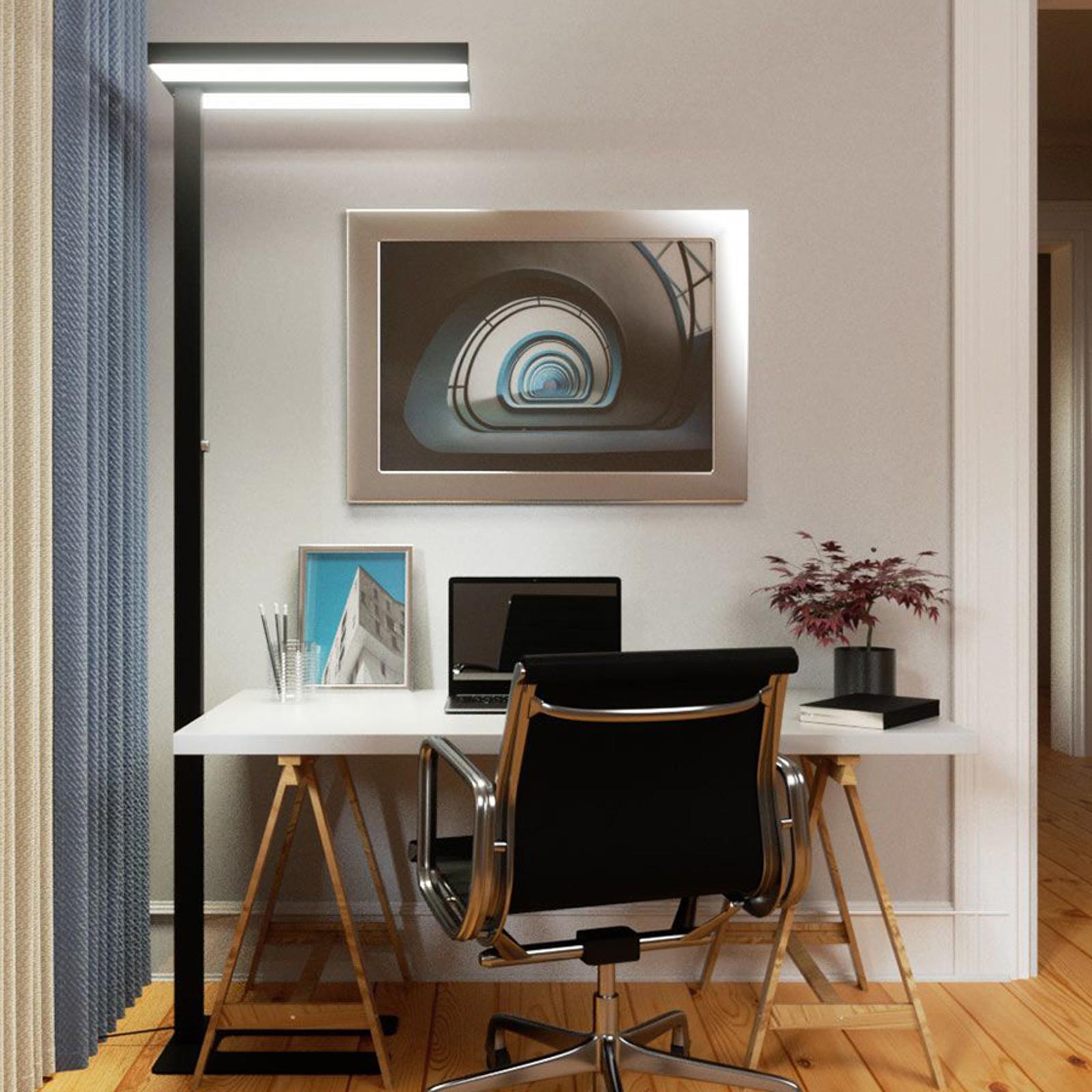 Lampadaire Office LED Logan noir, dimmable