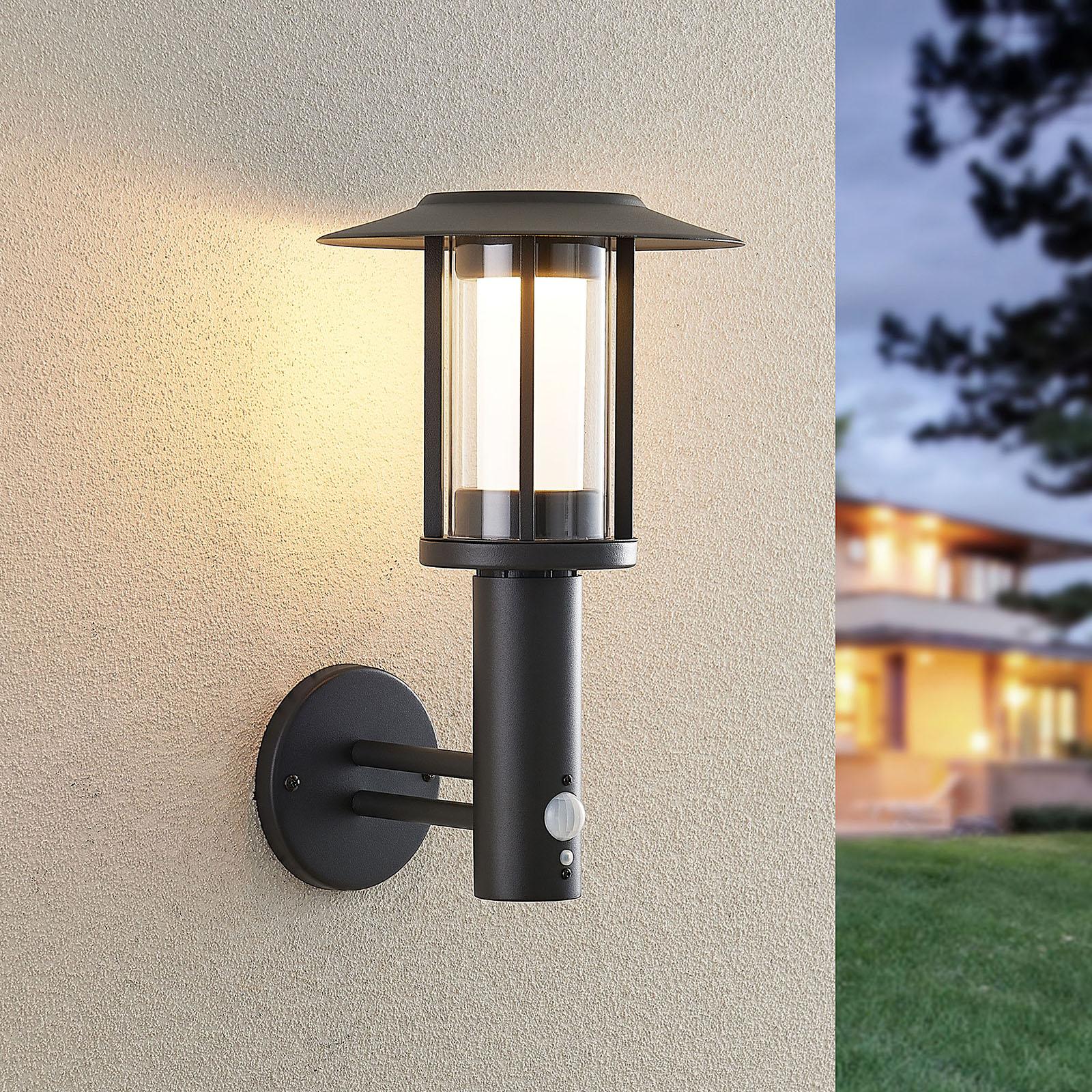 Lindby Volki LED-wandlamp op zonne-energie+sensor