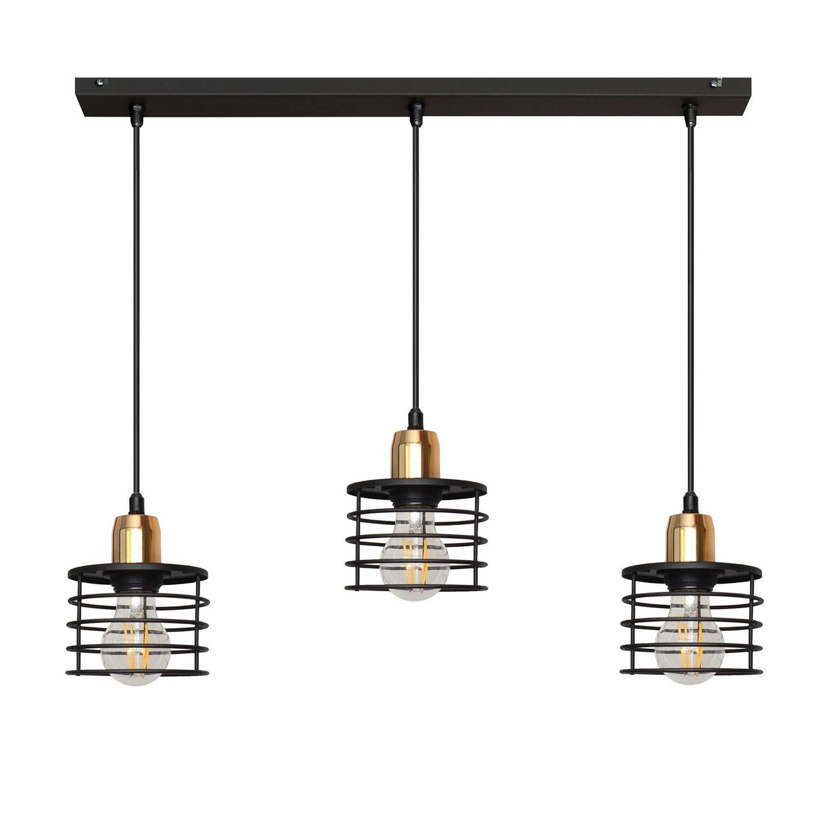 Suspension Edison en noir/cuivré 3 lampes allongée
