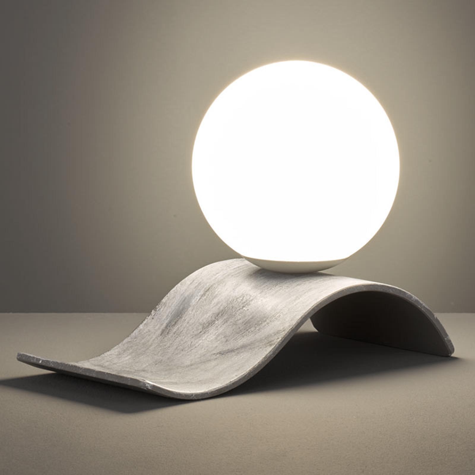 Glazen tafellamp Lara, grijs antiek