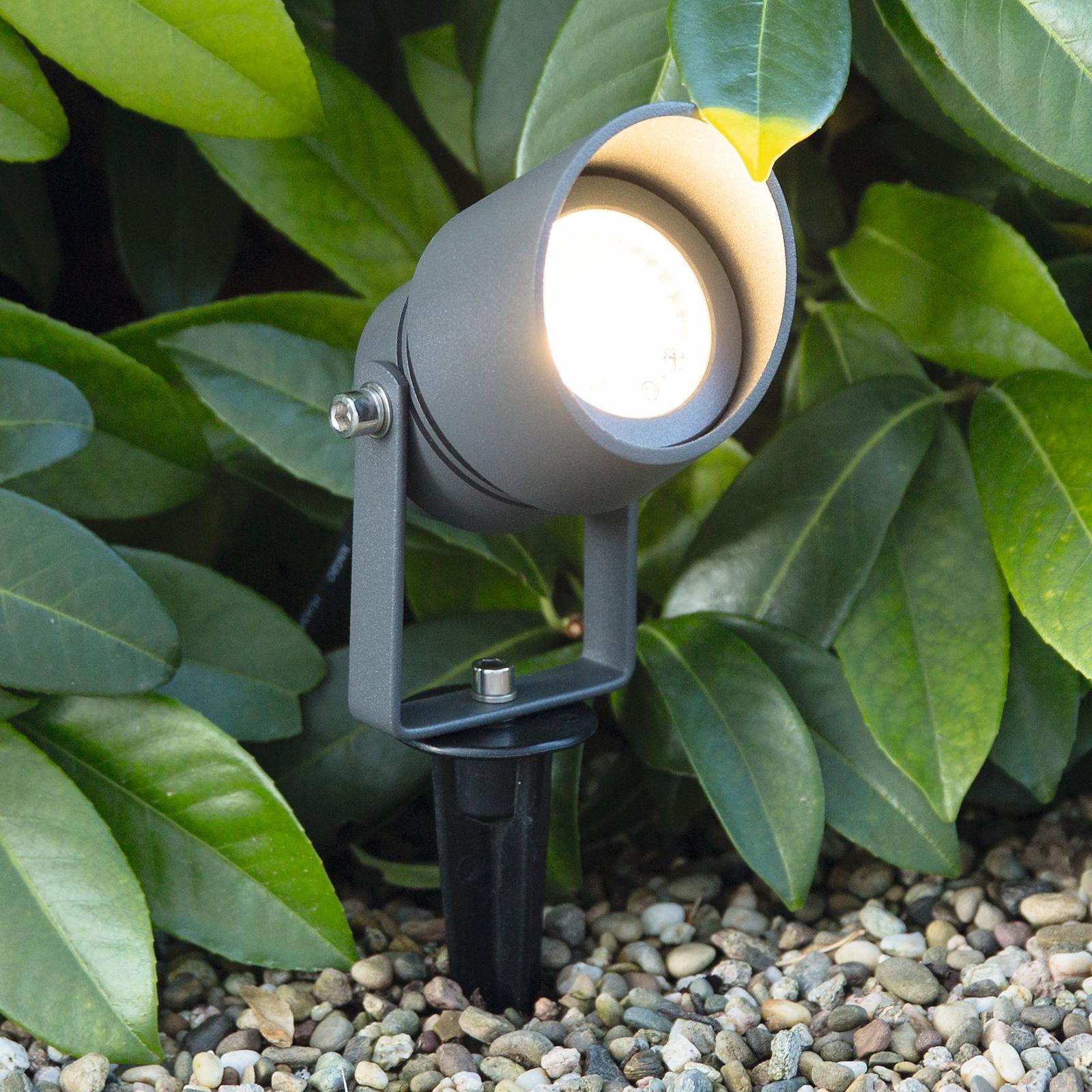 Reflektor z grotem ziemnym LED Linosa, wychylny