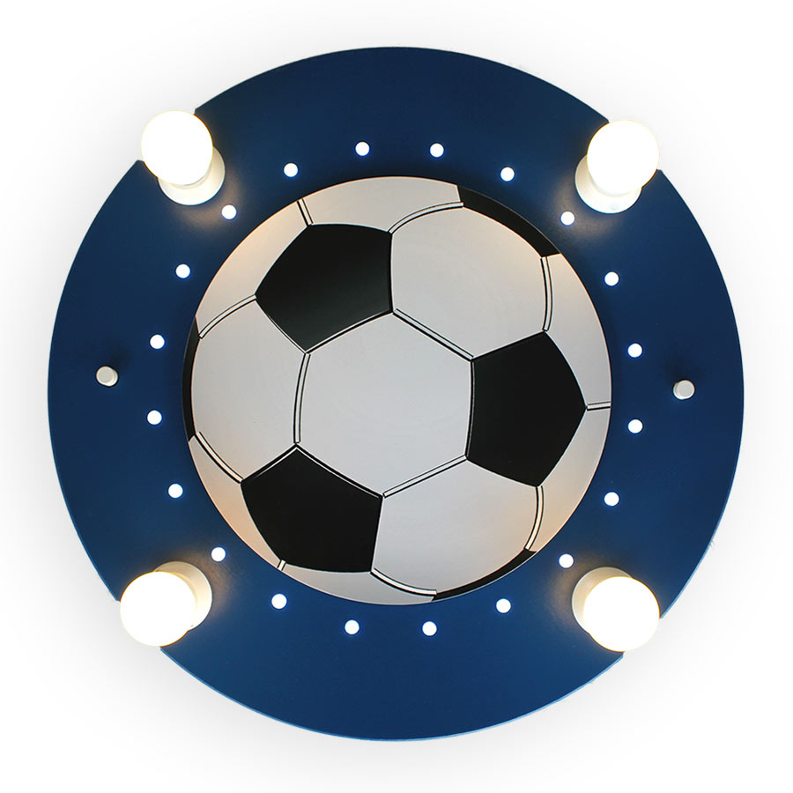 Plafondlamp Voetbal, 4-lamps donkerblauw-wit