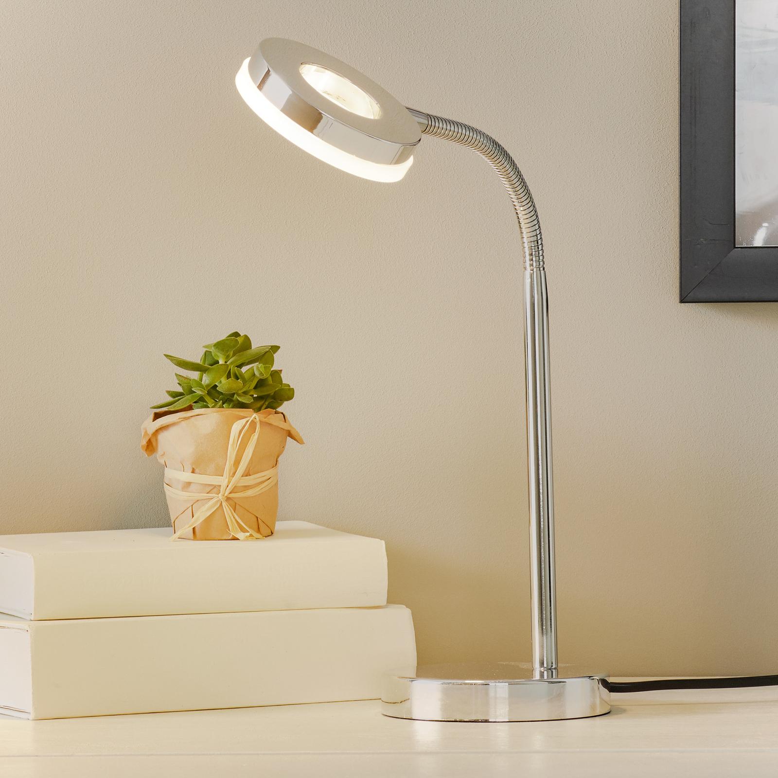 Chromowana lampa stołowa LED RENNES