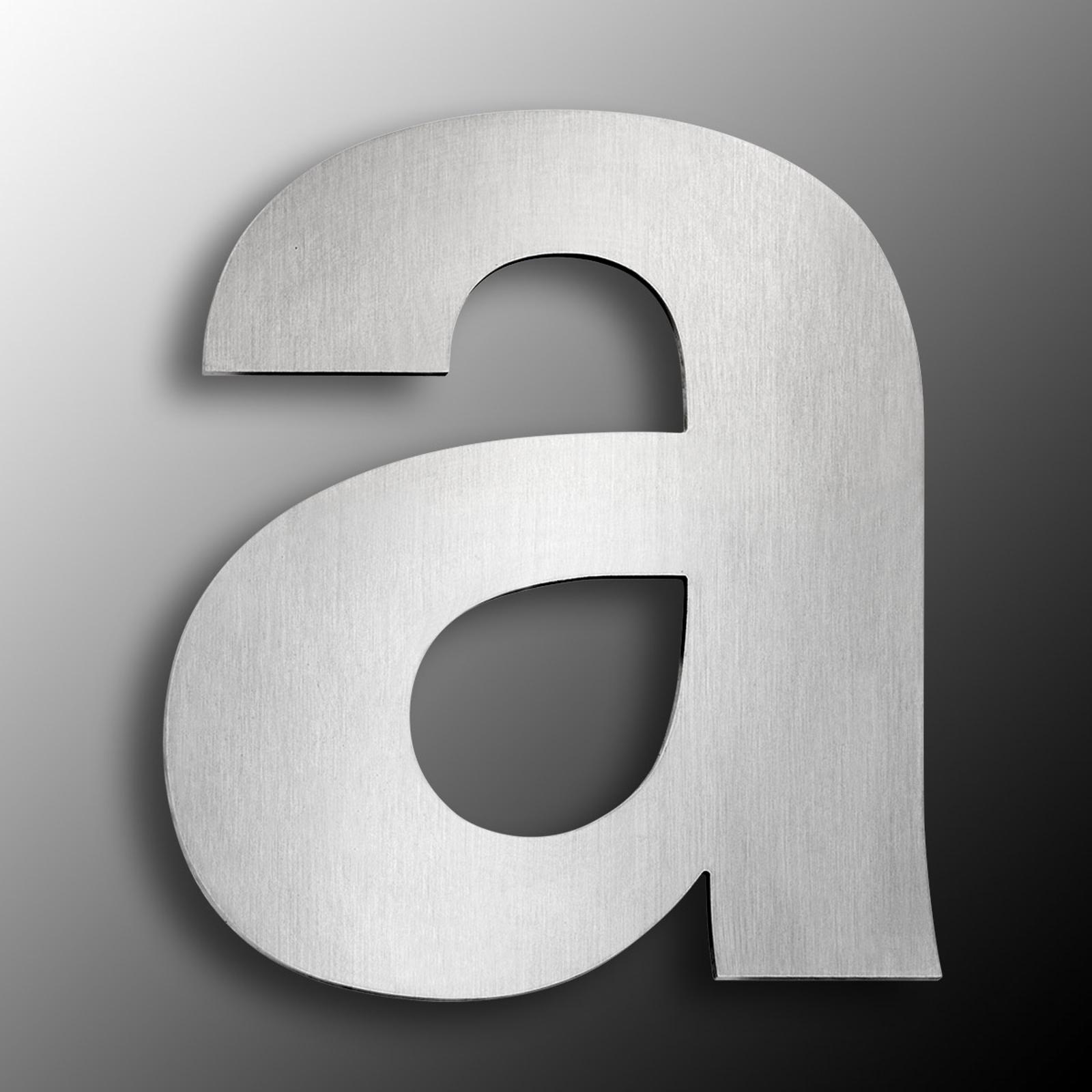 Husnummer av rustfritt stål, stor, bokstaven a