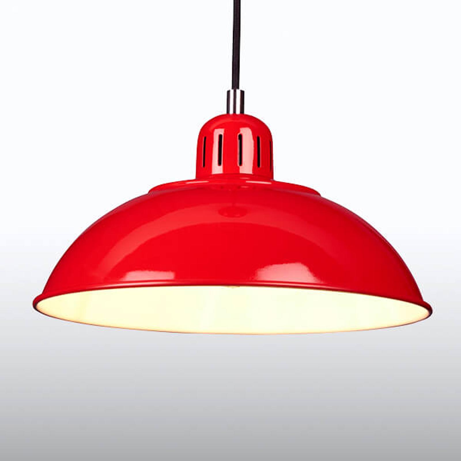 Czerwona lampa wisząca Franklin, design retro