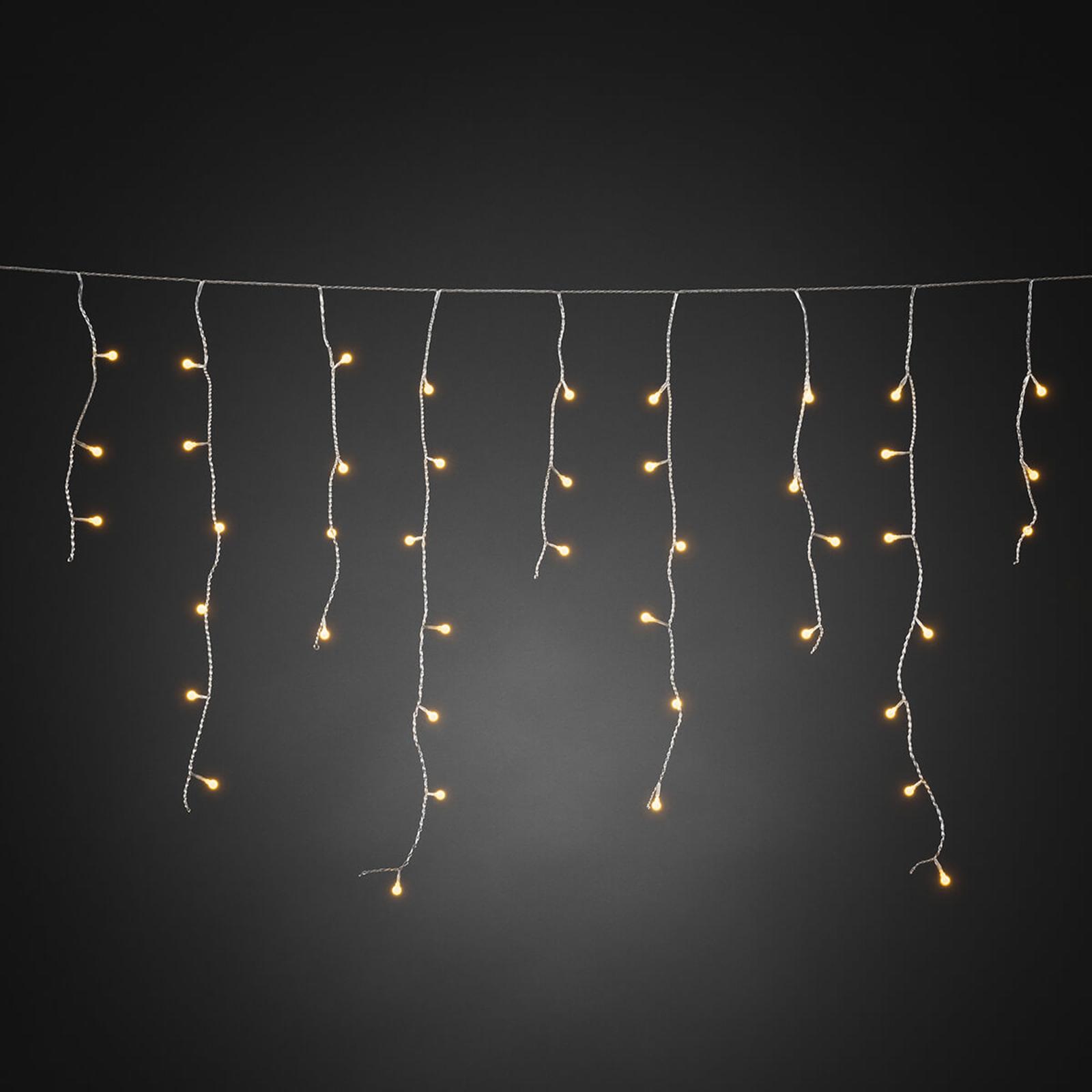 LED lichtgordijn Eisregen amber transp. 5m