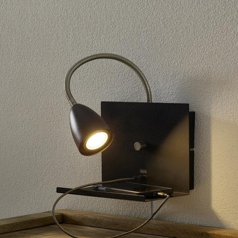 Væglampe Logi med hylde og USB-port