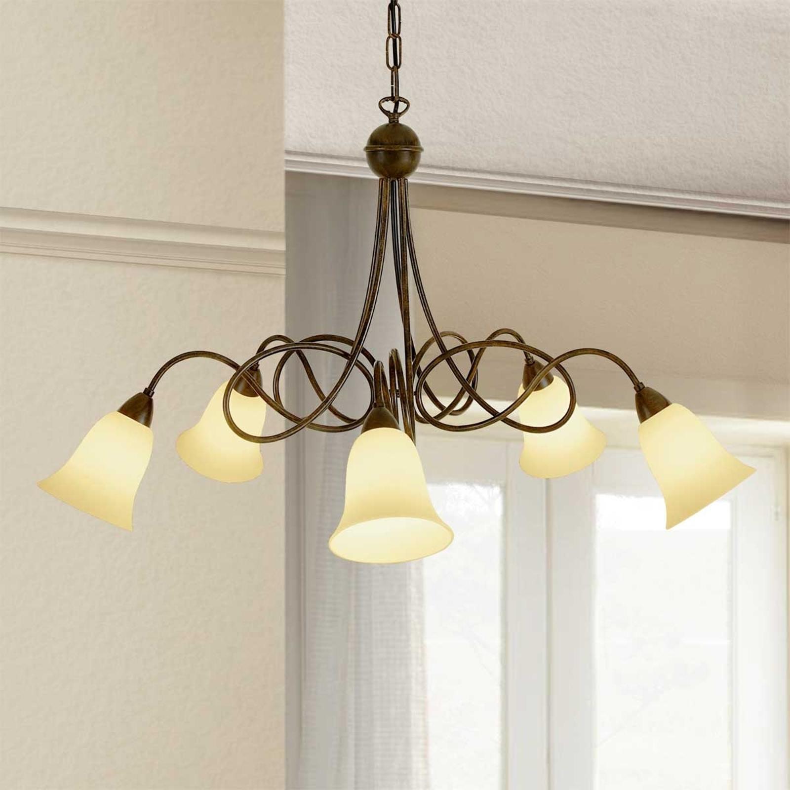 5-punktowa lampa wisząca Michele styl dworkowy
