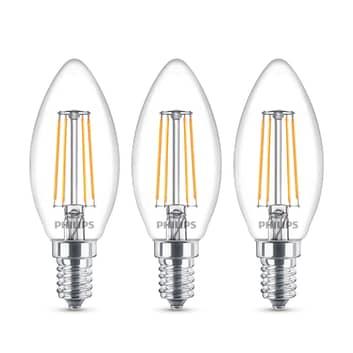 Philips LED-kertepære E14 B35 4,3W klar 3 stk.