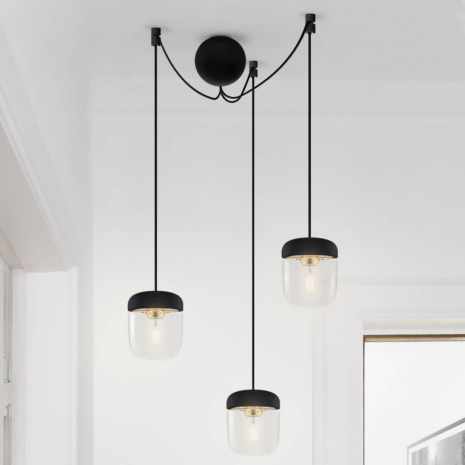 Lampa wisząca Acorn, 3-punktowa, czarny i mosiężny