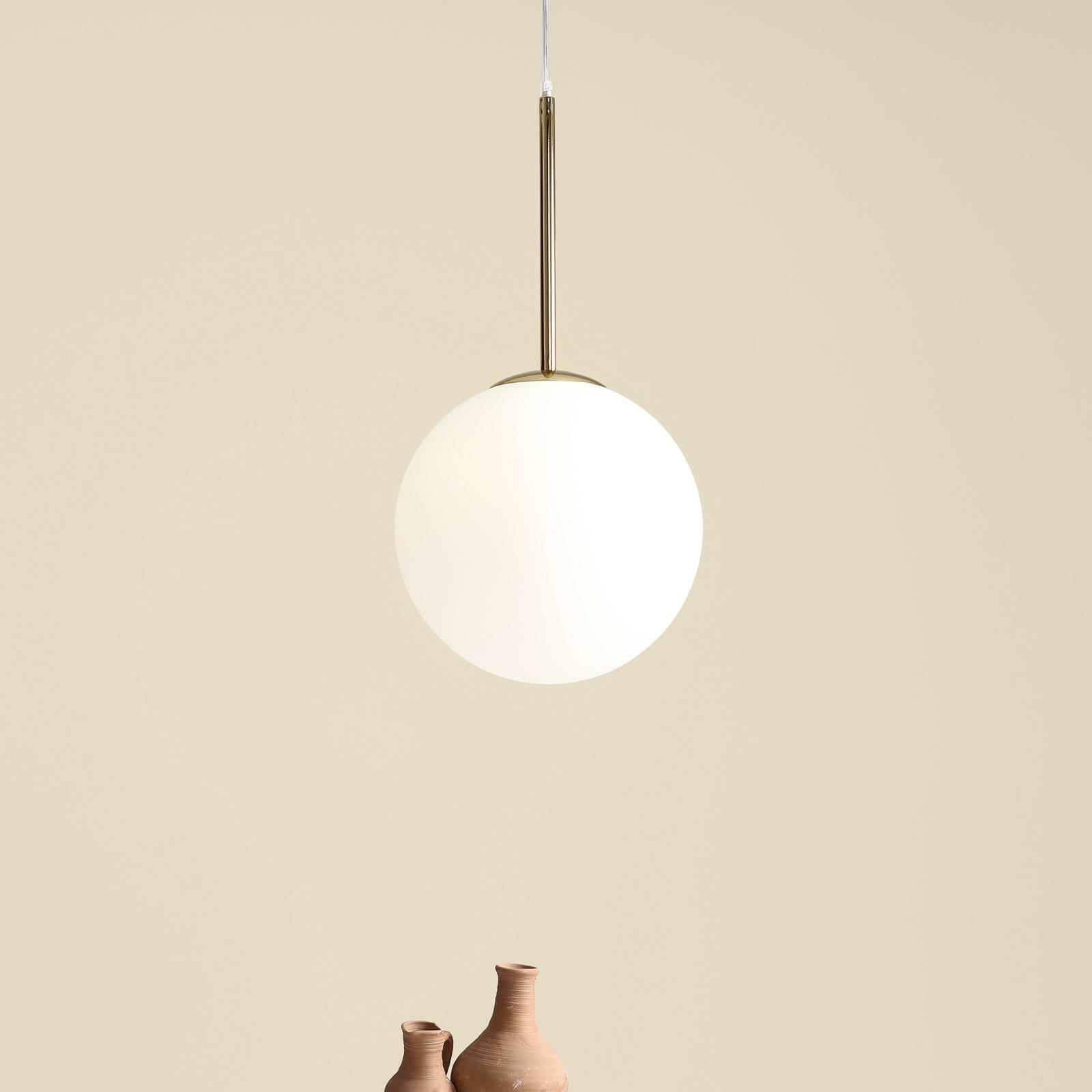 Suspension Bosso à 1 lampe, blanche/dorée
